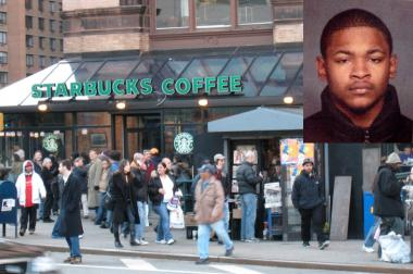 Jamel Chandler (inset) bit a customer at this Astor Place Starbucks after Chandler stole the victim's wallet and passport, police said.