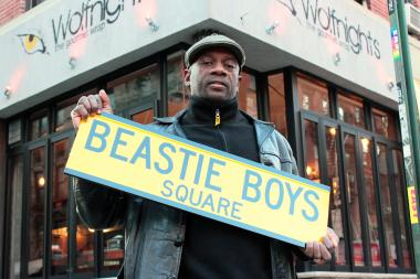 LeRoy McCarthy, who is proposing a Lower East Street corner be renamed after hip-hop group the Beastie Boys, has already got a street sign made.