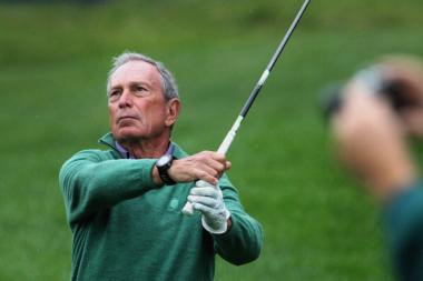 Michael Bloomberg was part of Tiger Woods's group during the Pro-Am tourney of the Deutsche Bank Championship at TPC Boston in Norton, Thursday, Aug. 29, 2013.