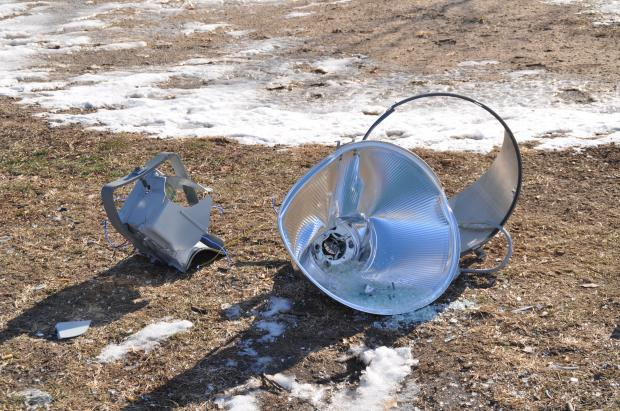 A lamp replaced this summer at one of the park's ball fields came crashing to the ground.