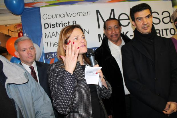 Dismissing reports that Gov. Andrew Cuomo is trying to thwart her push to be the next Speaker of the City Council,  Melissa Mark-Viverito  took the oath of office for a third time before a packed crowd at Millbrook Houses in THe Bronx on Dec. 30, 2013.