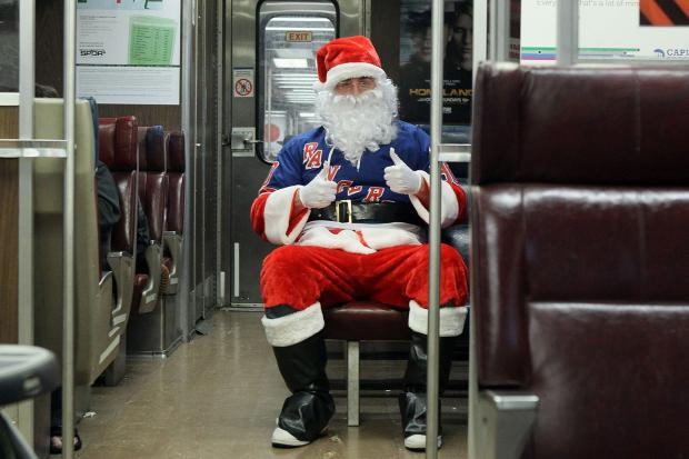 The  Long Island Railroad  is shutting the doors on soused Santas this weekend, instituting a 24-hour booze ban from noon Saturday to noon Sunday that overlaps with  SantaCon ,  scheduled to take place  on the Lower East Side and in Brooklyn on Saturday, Dec. 14, 2013.