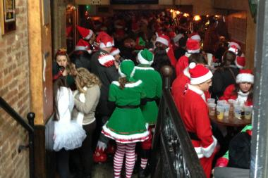 SantaCon takes over an East Village bar on Dec. 14, 2013.