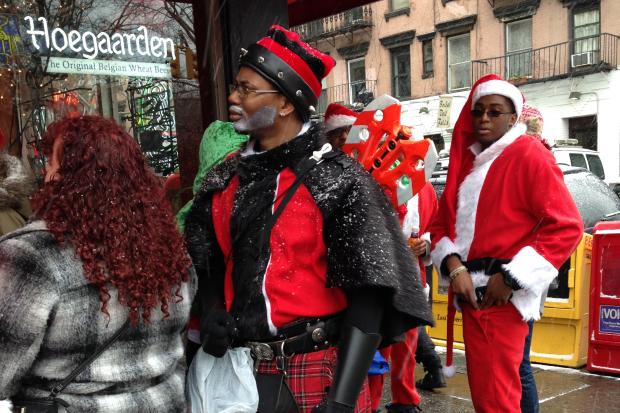 The festive celebration of swilling and Santa costumes hit a tipping point, as crowds throttled bars and lines formed out the door of participants wanting in on the roving party.