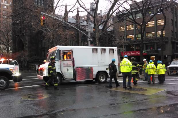 A sinkhole appeared in the Greenwich Village and trapped a food truck Friday morning.