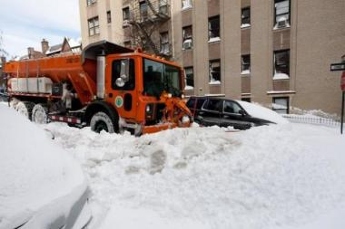 A plow clears the way in Manhattan following a snowstorm in December 2010 that briefly crippled the city.