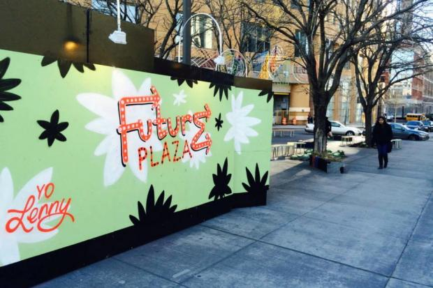 Muralist Steve Powers recently completed a mural on the green wall in Future Plaza.