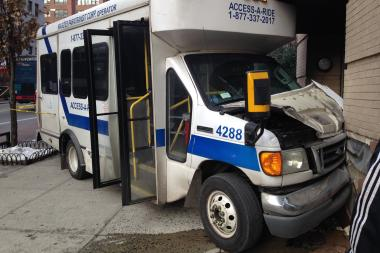A pedestrian was in serious, but stable condition after an Access-A-Ride slammed into a wall in Murray Hill, the FDNY said.