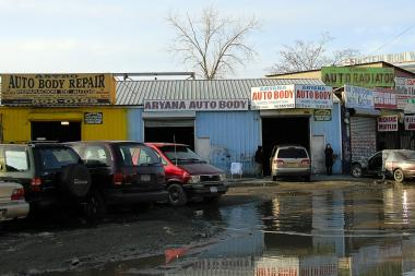 An auto-body shop in Willets Point.