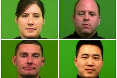 Four officers of the 112 Precinct revived a Rego Park resident. Clockwise from top left: officers Nicolle Leonard and Brian Sullivan, Sgt. Yuan and officer John Laird.