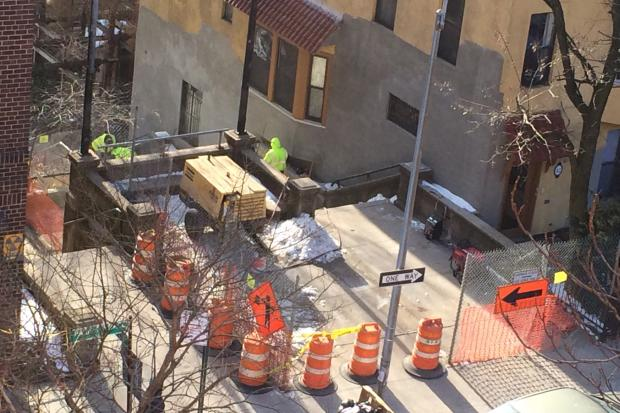 The long-awaited overhaul finally begins for neglected and cracked 215th Street stairs.