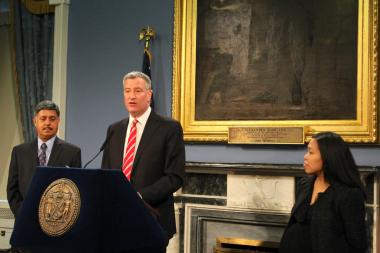 Mayor Bill de Blasio announced the appointment of Maria Torres-Springer as commissioner of the Department of Small Business Services and Dr. Ramanathan Raju as commissioner of Health and Hospitals Corporation on Jan. 21, 2014.