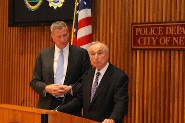 New York City Police Commissioner Bill Bratton was sworn in at police headquarters on Jan. 2, 2014.
