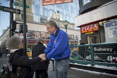 Mayor Bill de Blasio visits the Upper East Side following criticism that he left it without sufficient plowing on Wednesday January 22, 2014.