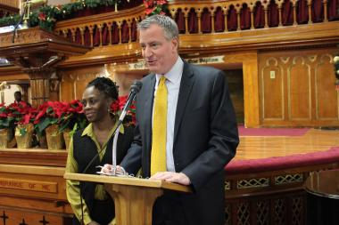 Mayor Bill de Blasio and his wife, Chirlane, spoke at the Brooklyn Academy of Music on Dr. Martin Luther King, Jr. Day, January 20, 2014.