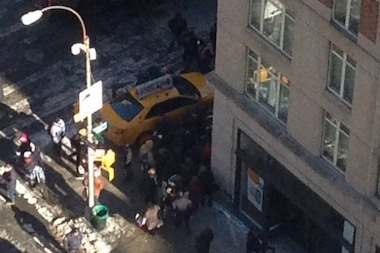 A cab jumped a curb at the corner of East 86th Street and Third Avenue on Friday, Jan. 24, 2013, striking two pedestrians, authorities said.