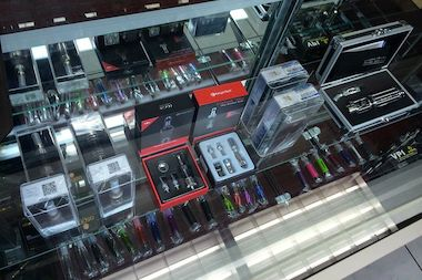 "E-cigarette devices for sale at City Vape, Astoria's first dedicated ""Vape Shop."""