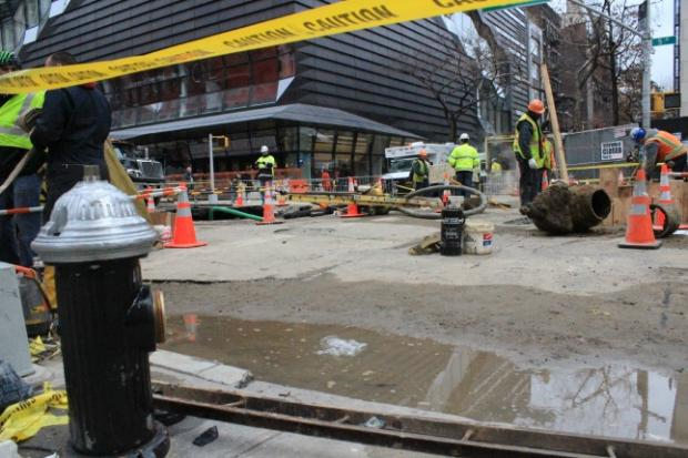 Construction workers still hadn't accessed the broken water main on Thursday, though electricity and water had been restored to all affected customers.