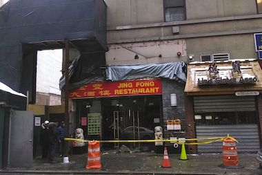 A fire tore through Jing Fong Restaurant early Monday.
