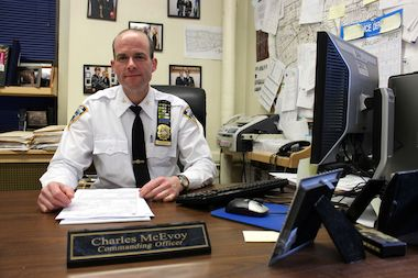 Inspector Charles McEvoy, commanding officer of the 103rd Precinct, is being transferred to the School Safety Division.