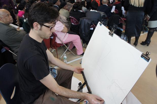 Urban Sketcher Jason Das of Crown Heights sketches Councilwoman Laurie Cumbo's inauguration.
