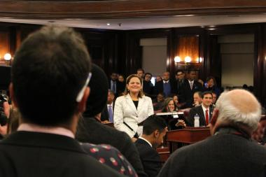 City Council Speaker Melissa Mark-Viverito on the floor of the council's chambers during the rollcall vote confirming her as the first Latina speaker on January 8, 2014.