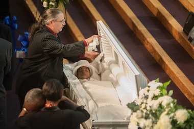 The casket containing Myls Dobson at his funeral at First Corinthian Church in Harlem on January 21, 2014.