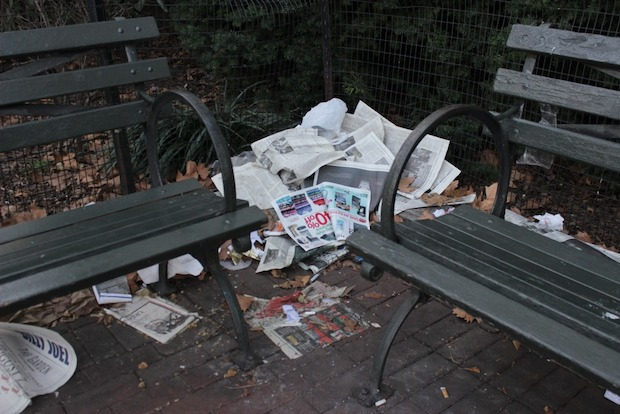 Neighbors of John Jay Park say the plaza is filled with litter