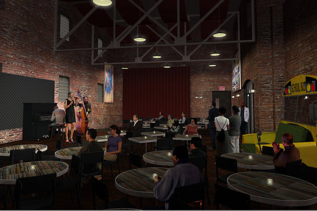 Renderings for the Rock and Roll Playhouse, a proposed bar and music venue at 280 Bond St., in Gowanus.