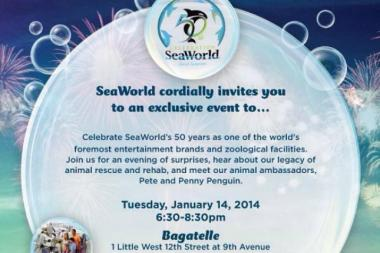 The invitation to the SeaWorld party at Bagatelle.