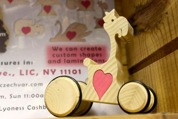 Slovak-Czech Varieties handcrafts toys from wood salvaged from trees that fell during Hurricane Sandy.