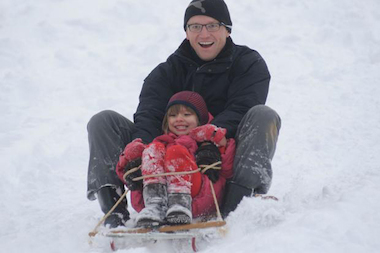 A snowstorm brings good sledding to the city this weekend.