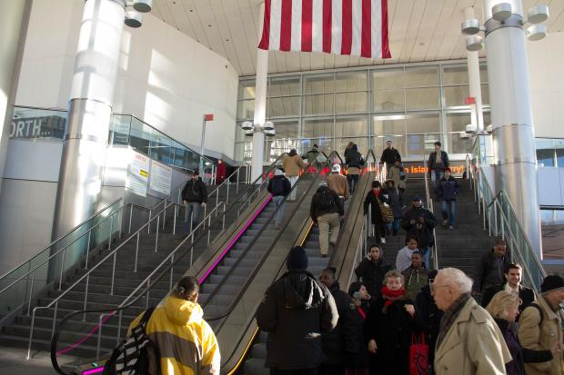 "The DOT turned on the two ""up"" escalators at the Whitehall Ferry Terminal this week."