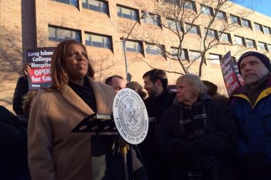 Public Advocate Letitia James speaks at a rally in front of Long Island College Hospital Jan. 29.