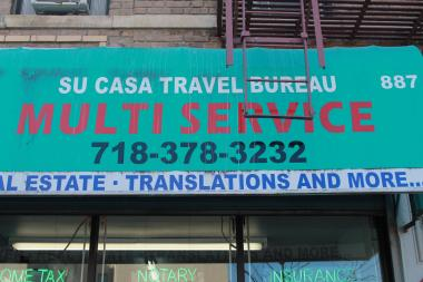 Su Casa Travel Bureau, a travel agency and insurance office, located at 887 Hunts Point Ave.