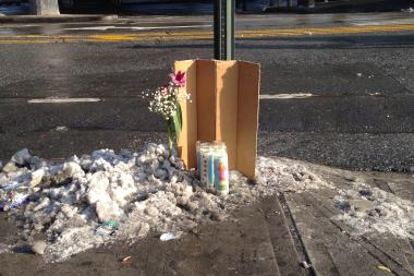 A memorial was put up to honor the 25-year-old victim who was hit and killed by a Q53 bus on Monday evening.