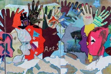 A painting created for the Global Art Project for Peace by members of Create Arts Center in Newport, Washington
