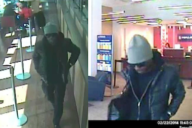Police are looking for a man in two bank robberies that occurred an hour apart on Feb. 22.