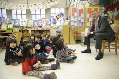 A good government group wants the Conflicts of Interests Board and the Campaign Finance Board to investigate Mayor Bill de Blasio's use of outside entities to raise money for the causes he advocates. Here, de Blasio visits a pre-K class at P.S. 130 in Manhattan.