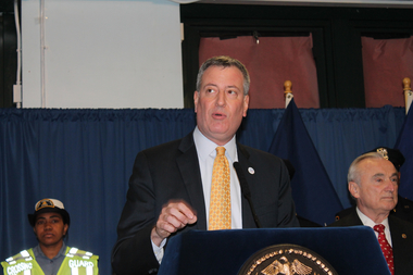 "The SUV driving Mayor Bill de Blasio was reportedly caught speeding just days after he announced his ""Vision Zero"" plan for reducing traffic fatalities."