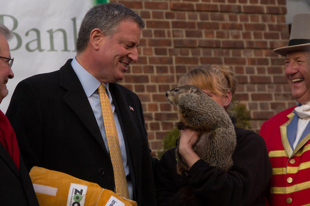 The furry meteorologist predicted six more weeks of winter after being dropped by Mayor de Blasio.