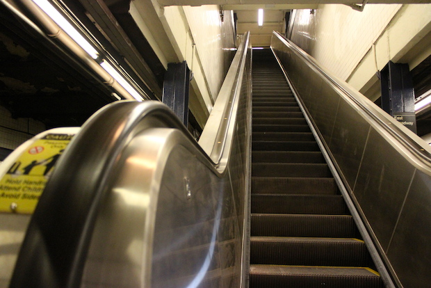The escalator at the East Broadway subway station stopped working after opening on Thursday night.