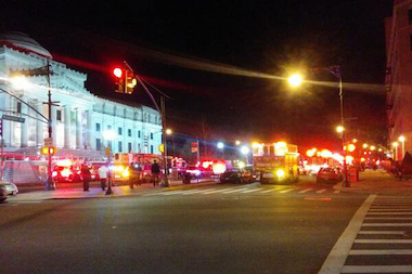 Two civilians and four firefighters were hurt in a fire across from the Brooklyn Museum, the FDNY said.