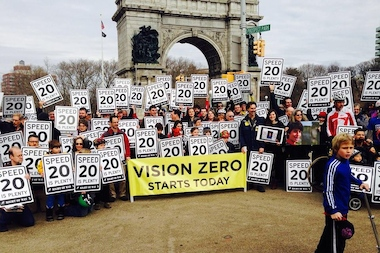 A group of locals plan to hang 20 mph speed limit signs on a residential street in Fort Greene.