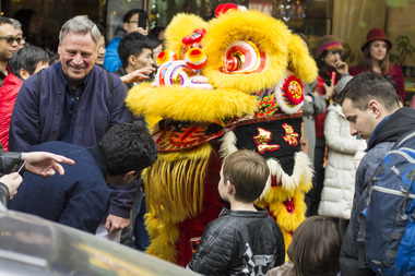 Dragons delight the crowd in the 2014 Lunar New Year celebration in Manhattan.