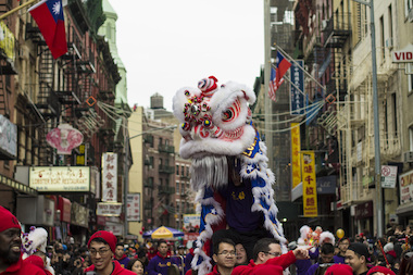 Dragons march on Mott Street during the Lunar New Year Parade on Feb. 2, 2014.