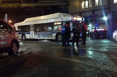 A woman was struck and killed by a city bus at 74th Street and Roosevelt Avenue Monday Feb. 3, 2012.
