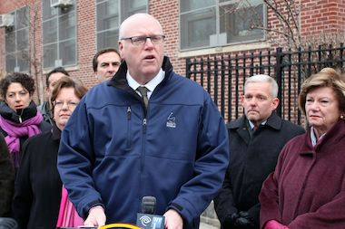 Congressman Joseph Crowley and other elected officials held a press conference at P.S. 11 in Woodside Tuesday, criticizing the DOE's plan to bus some students to another school building in Astoria during the construction of a new addition.