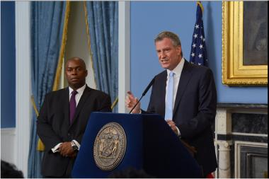 Mayor Bill de Blasio announces the appointment of Richard Buery (L) as Deputy Mayor of Strategic Policy Initiatives.