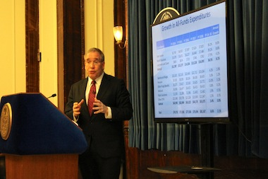 Comptroller Scott Stringer discussing Mayor Bill de Blasio's preliminary budget on February 19, 2014, and warning that labor contracts continue to represent the biggest threat to the city's fiscal health.